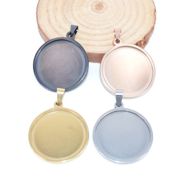 round 25mm cabochon base stainless steel blank cameo settings wholesale high quality diy pendant trays for jewelry necklace pendant making