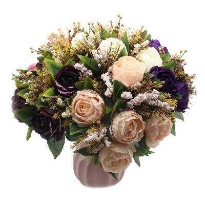 Avrupa Şeftali Mor Pembe şakayık Gelin Yapay Çiçekler Çiçeği Gelin Nedime Tutucu Düğün Buket Ev Düğün Parti Dekorasyon