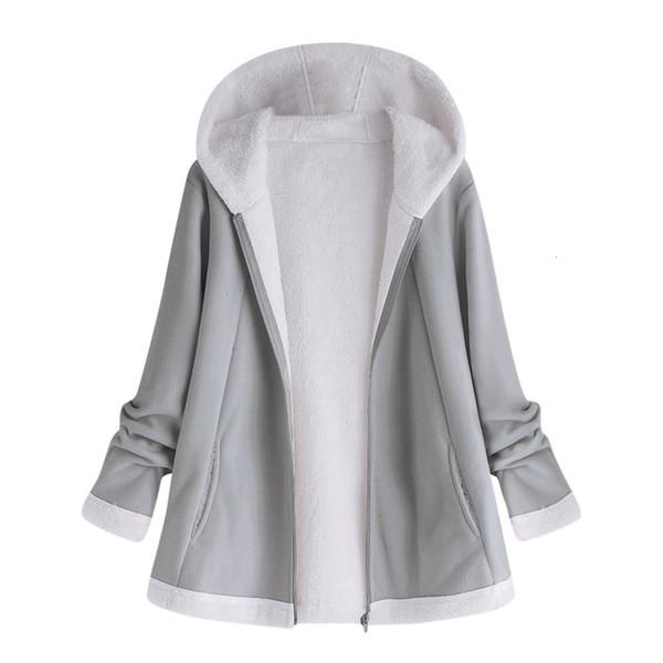Frauen Herbst Jacke Winter-warme festen Plüsch-Mantel-Mode-Taschen-Reißverschluss mit langen Ärmeln outwear Manteau femme plus Größe 5XL Y191014