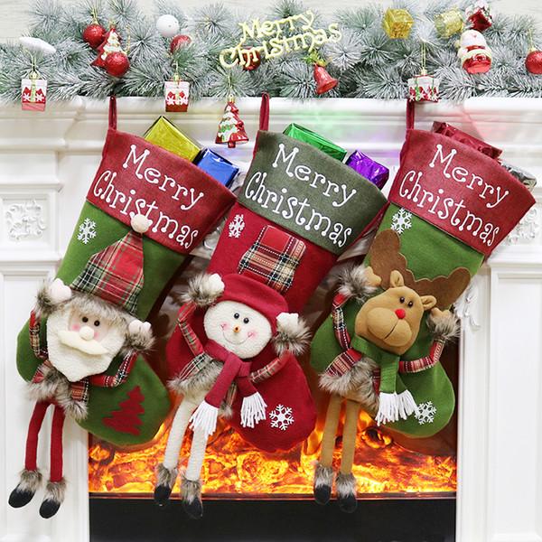 Christmas Stocking Gift Bag Noel Reindeer Santa Claus Snowman Socks natal Xmas Tree Candy Ornament Gifts Decorations