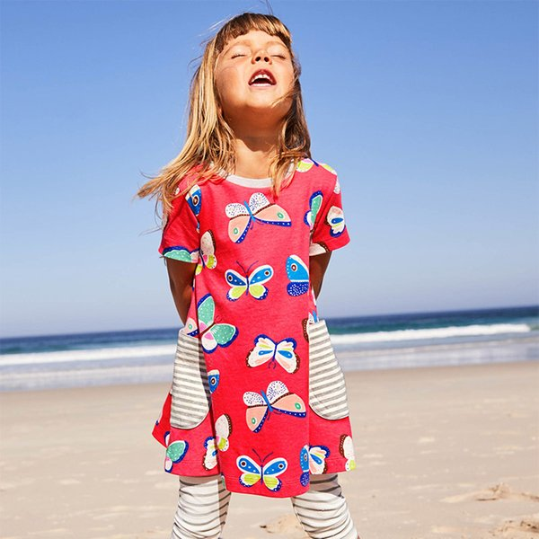 Summer Girls Dress Unicorn Party Casual Short Sleeve Toddler Dresses Animals Appliqued Crew Neck Kids Dresses for Girls Clothes