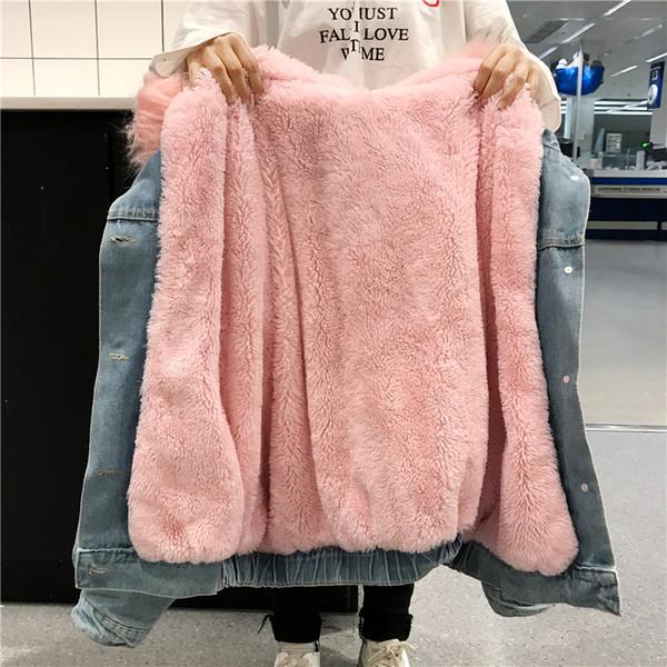 Kadınlar Kalın Kuzu Kürk Kış Kadın Parka Kış Jean Ceket Kaban Chaquetas Mujer Coat Fur Kapşonlu Denim Ceket
