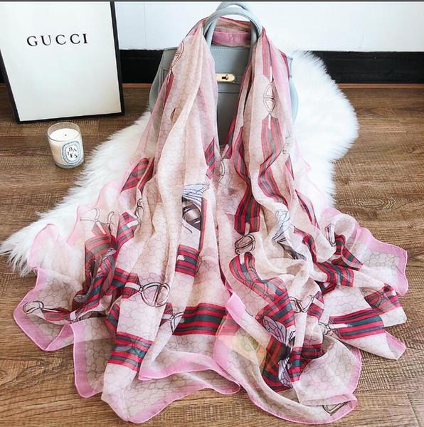Бренд высокое качество роскошные женщины шелковый шарф 2018 Лето дизайнер цветок длинный шарф этикетка 135 * 190 см Шаль шелк письмо шарфы
