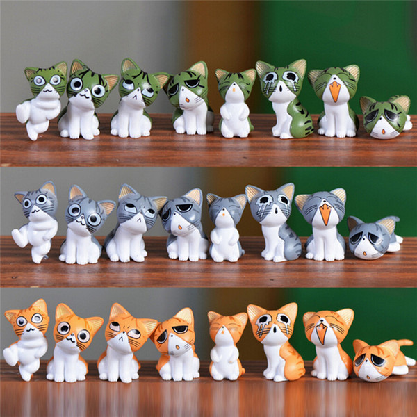 24pcs/lot Mini Cheese Chis Cat Kitty Model Resin Kitten Cat Miniatures Statue Crafts Ornament Garden Figures Decoration for Home Kids Toys