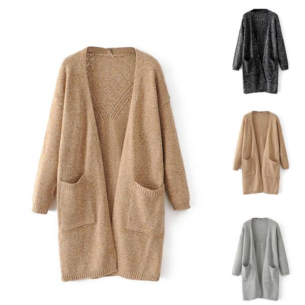 Женщины Свободный свитер Кардиган Хороший Теплый Осень Трикотажные Пиджаки Один Размер Длинное Вязаное Пальто Назад Выдалбливают Pattern Модное Пальто