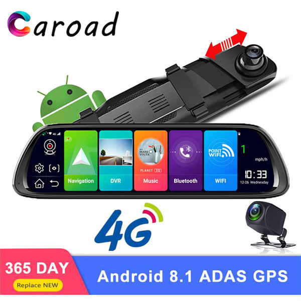 "caroad dashcam 10"" 4g adas android 8.1 wifi full hd 1080p rearview mirror camera dual lens dash cam gps navigation car dvr"