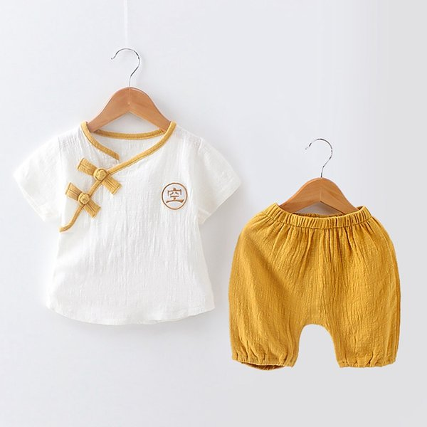 Baby Kleidung Kleinkind Baby Jungen Mädchen Kleidung 2 Stücke Outfit Set Chinesischen Stil Kurzarm T-Shirt Tops Hosen Kleidung Set