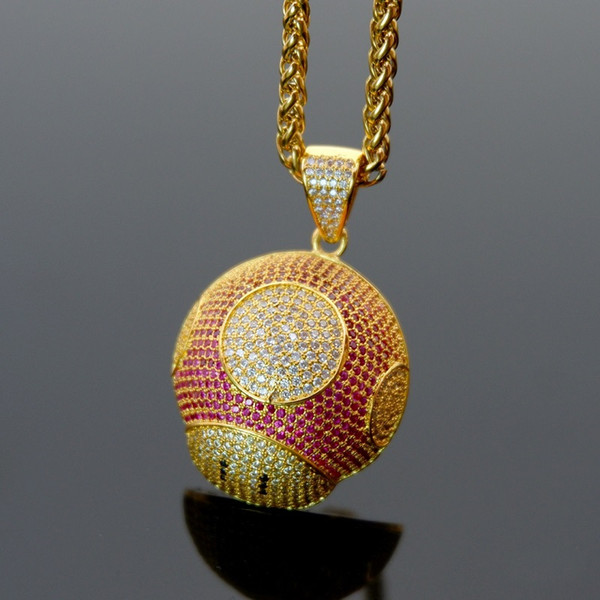 USENSET Bling Bling Hip Hop Super Mario Mushroom Pendant Necklace With Chain Ice Out Cubic Zircon Men Women Jewelry