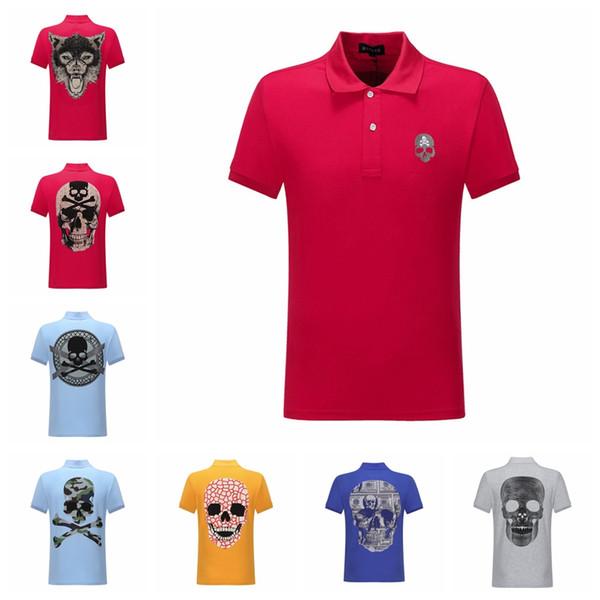 2019 yaz erkek tasarımcı t shirt Moda erkekler Kısa Kollu POLO Giyim Rahat Kafatası Sıcak matkap Hip Hop Erkek Yüksek kalite Tee