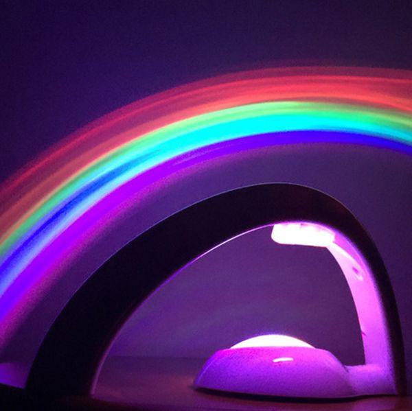 venda quente do arco-íris projetor quarto noite luz LED a cores Lâmpada mágica luzes românticas para as crianças, presente Home Decor