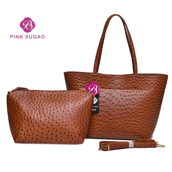 best selling Pink sugao designer handbags 2pcs set top leather handbag shoulder bag 4color fashion women bag crossbody shoulder bag 2019 new style