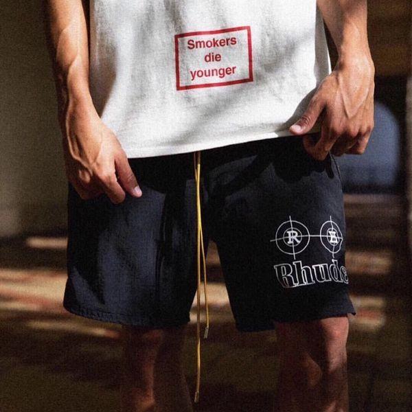 19SS RHUDE New York Small Logo SHORT MESH GYM SHORT Pants Men Women Casual Loose Beach Street Hip Hop Sport Sweatpants HFLSDK054