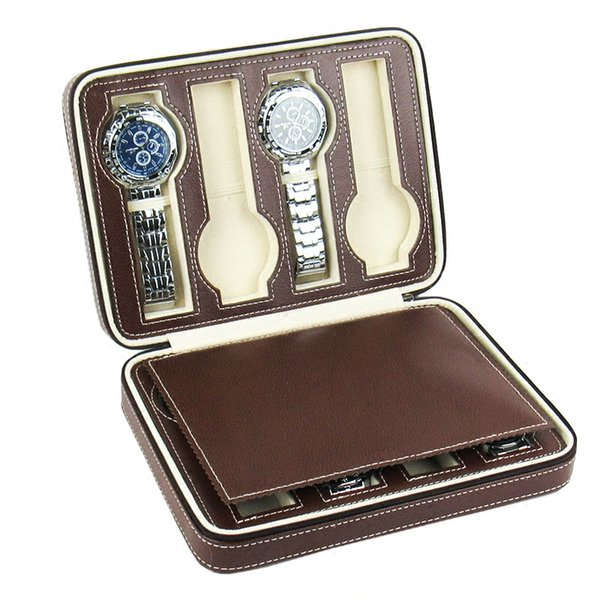 Men's Watches Box Organizer Storage Case Multi PU Leather Folding Jewellery Watch Boxes with Zipper Carrying Travel Cases Home Personal Use