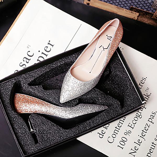 2018 Femmes Chaussures 8 cm Talons Sexy Escarpins À Paillettes Noir Pourpre Or Femme Talon Chat Talon Patchwork De Mariée Chaussures De Mariée
