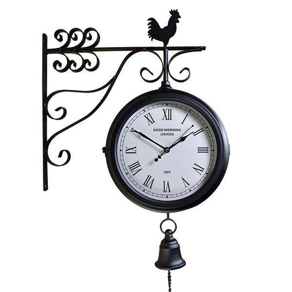 Wrought iron mute compound clock European retro, craft double-sided wall clock antique