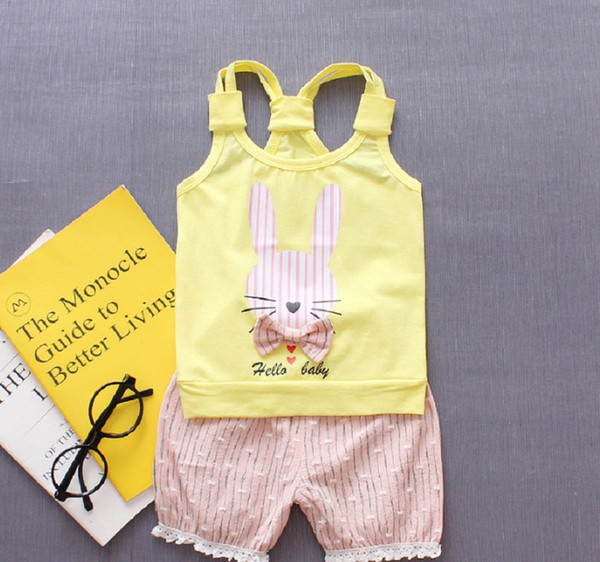 Fashion Summer Toddler Baby Girl Lovely Rabbit Print Sleeveless Vest Tops + Lace Shorts Pants Outfits Clothing Set