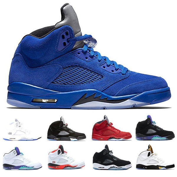 2019 Cheap 5 5s Men Basketball Shoes Blue Raging Bull Suede White Camo Sneakers 5s Men S Basket Ball Shoes Sneakers Sports Mens Trainers
