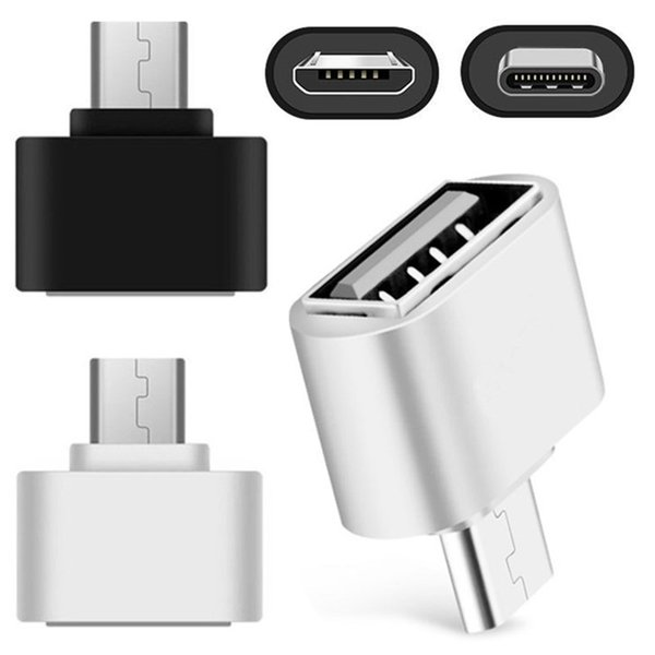 top popular micro type c adapter Converter usb Otg adapters for samsung android phone Keyboard PC Camera white black 2021