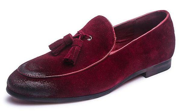 Erkek Klasik Püskül Yumuşak Moccasins Erkek Hakiki Süet Deri Rahat Loafer'lar Açık Sürüş Flats Ayakkabı Boyutları 38-48
