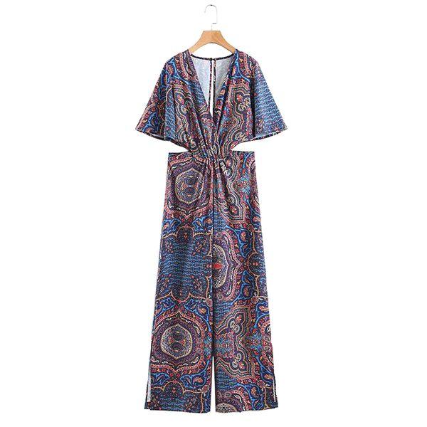 Women Summer Vintage Jumpsuits Rompers Short Sleeve Elastic waist V-Neck Female Fashion bodysuit Overalls playsuit