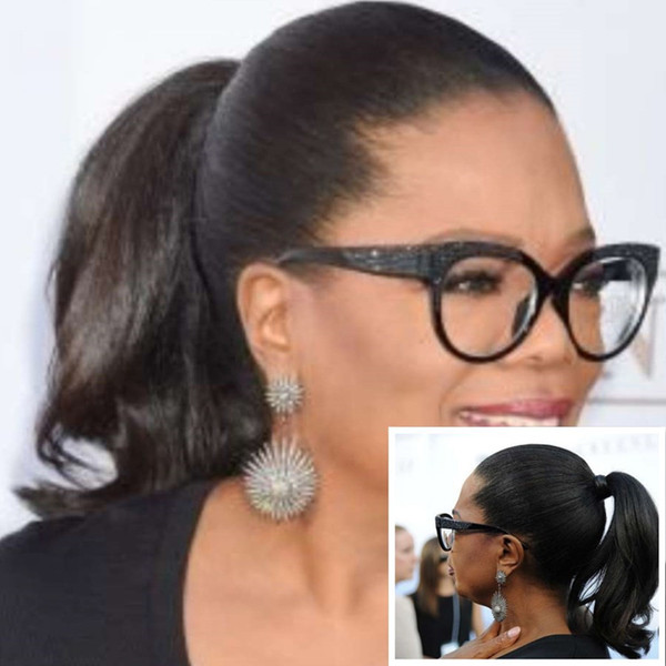 Fabulous Oprah Winfrey Ponytail Hairstyle Wraps Around Straight Wavy Pony Tail Hairpiece African American Ponytail 120g Best Natural Ponytails For