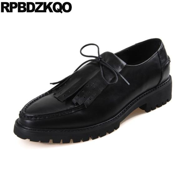 Großhandel Spitz Marke Männer Oxfords Schuhe Handarbeit Aus Echtem Leder Casual Frühling Quaste Runway Europäischen Spitzen Creepers Lace Up Schwarz