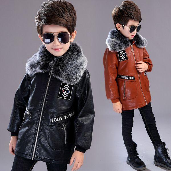 4-13T Boys Faux Leather Jackets Children Coat For Autumn & Winter 2019 New Fashion Plus Velvet Thick Long Warm Leather Outerwear