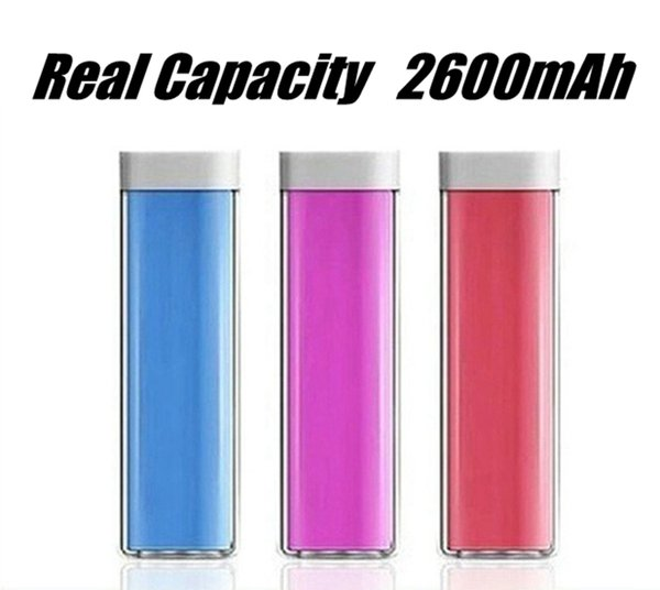 Real 2600mAh Mobile Charger Lipstick Power Bank Mini USB Portable Charger Backup Battery for iPhone XSXR Max Samsung S9plus Note9 +Package