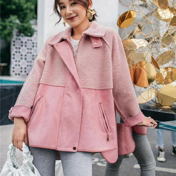 LANMREM Nice New Vogue Suede Patchwork Plush Thick Jacket Fashion Turn Down Collar Short Irregular Coat For Woman Winter YE881
