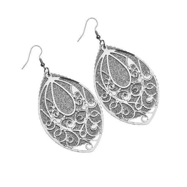 2019 New Acrylic Matte Retro Multi-Level Hollow Frosted Earrings Water Drop Earrings For Women Fashion Jewelry E2134