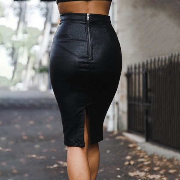 spring 2019 plush comfortable pu hip skirt black gray red knee-length pencil faux leather solid color skirt high waist
