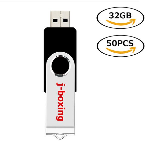 Black Rotating 32GB USB 2.0 Flash Drive Bulk 50pcs Swivel Metal Flash Memory Stick 32gb Thumb Pen Drives Storage for Computer Laptop Tablet