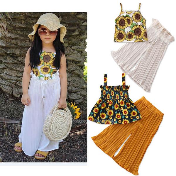 INS şifon kızlar suits yaz çocuklar giysi tasarımcısı kızlar kıyafetler çiçek tankları tops + pileli Geniş bacak pantolon tatlı kız giysi A7391