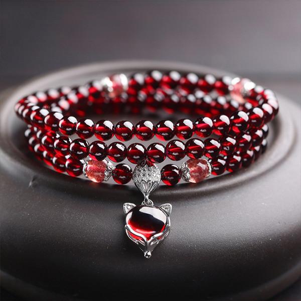 6A naturelles vin rouge grenat Bracelets 925 bijoux que pour les femmes en argent sterling naturel pierres précieuses Fox Gourd Pixiu Charm Snowflake Les meilleures filles cadeau