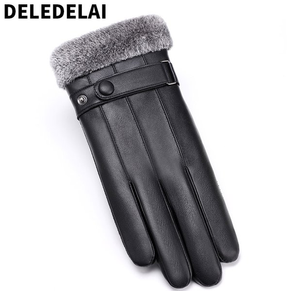 DELEDELAI 2018 new winter autumn warm thicken touch screen non-slip fashion driving wind proof men gloves male mitten item 757