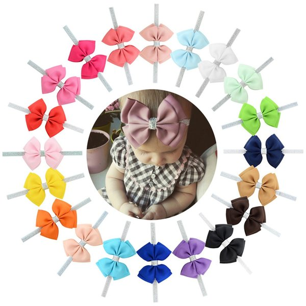 20 Color New Baby Hair band double Bow girl Headband Silver Ribbon Hair Band Elastic headdress DIY Hair Accessories For Children Newborn