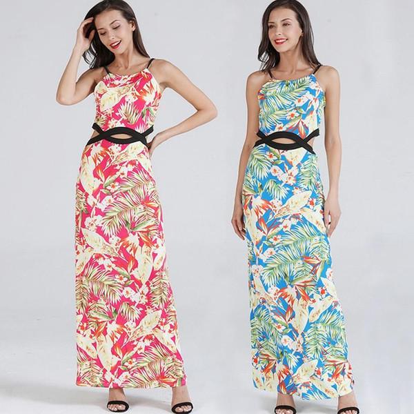 Женщины одеваются сексуальный жилет без рукавов без бретелек Элегантная леди с цветочным принтом талии выдалбливают длинную юбку Повседневные свободные платья Размер S-2XL