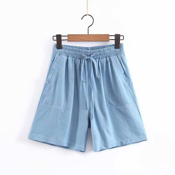 C201-6112 Japanese And Korean-Style Fashion Summer New Style Tencel Cowboy Shorts Washed Soft Hot Pants Women's a Generation of
