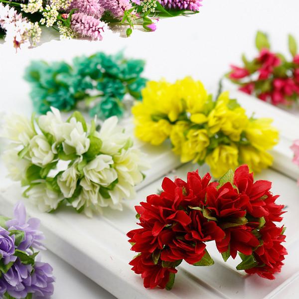 12 pcs/lot Silk Cherry Blossoms Small Artificial flowers Poppy Bouquet Wedding Decoration Mini Fake flowers For DIY Scrapbooking D19011101