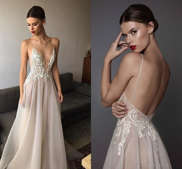 2019 New Ivory Berta Evening Dresses Deep V Neck Spaghetti Straps Embroidered Chiffon Backless Summer Illusion Long Prom Dresses