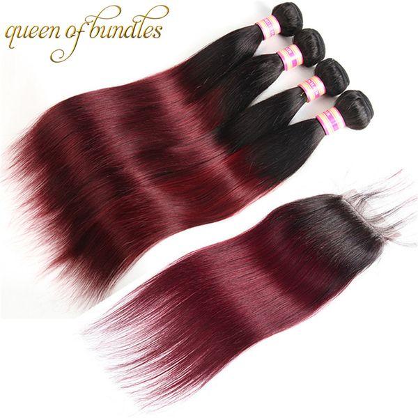 Ombre 3 пучка с закрытием Перуанские прямые девственные волосы с закрытием 1B 27 Медовая блондинка 1B 30 Цвет человеческих волос с закрытием