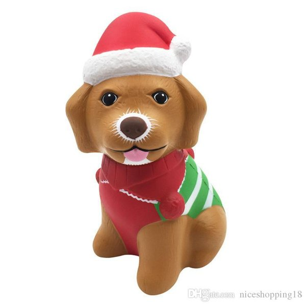Squishy Christmas dog high quality 13cm Slow Rising Soft Oversize Phone Squeeze toys Pendant Anti Stress Kid Cartoon Toy Decompression Toy