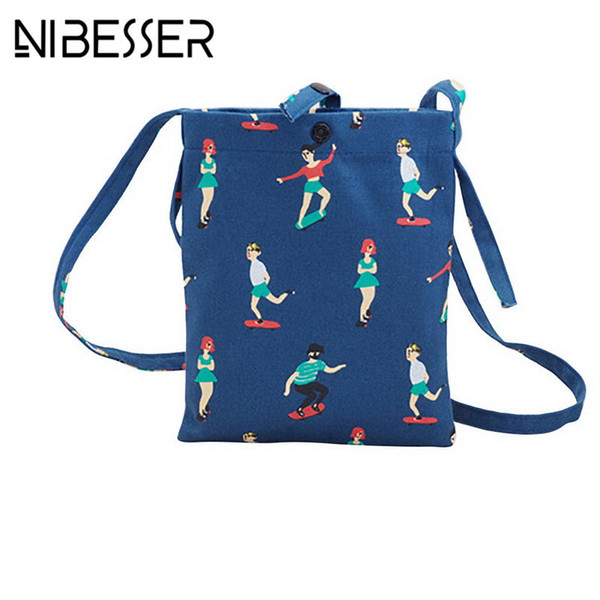 Cheap NIBESSER Cute Cartoon Women Canvas Bag Sporting Figures Flap Lady Messenger Bag Sweet Crossbody Bags For Women 2017 bolsos mujer