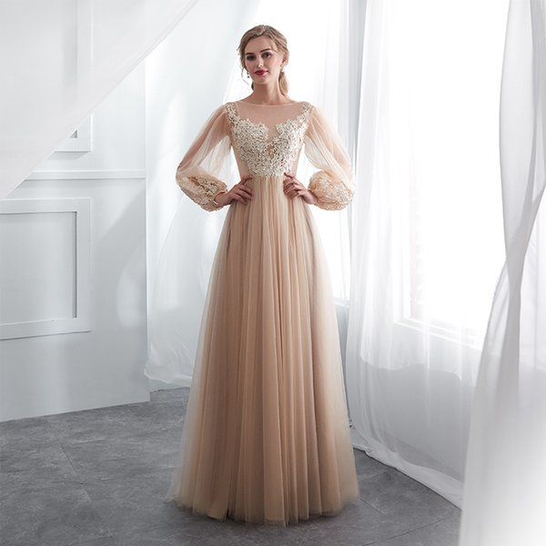 Champagne Prom Dresses Long Puff Sleeves Venice Lace Full Length Evening Dresses Party Gown Formal Dresses Vestidos De Gala Y19072901