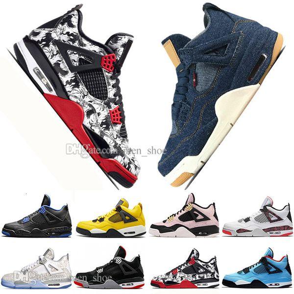 Top Cheap récent Bred 4 4s Ce que le Laser Cactus Jack Ailes Hommes Basketball Chaussures Denim Blue Tattoo Pâle Citron Hommes Sports Sneakers Designer