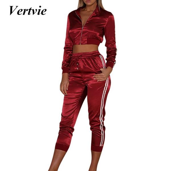 Vertvie Otoño Invierno Conjuntos de satén Mujeres Cremallera Raya lateral Crop Tops Cordón Pantalón largo Pantalones de entrenamiento Sexy Entrenamiento Mujer # 660676