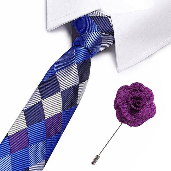 Geometrische Plaid Krawatten Herrenmode Krawatte 8 cm Blaue Krawatte Blau lila Farbe Krawatte Für Männer Anzug zubehör tiebrooch