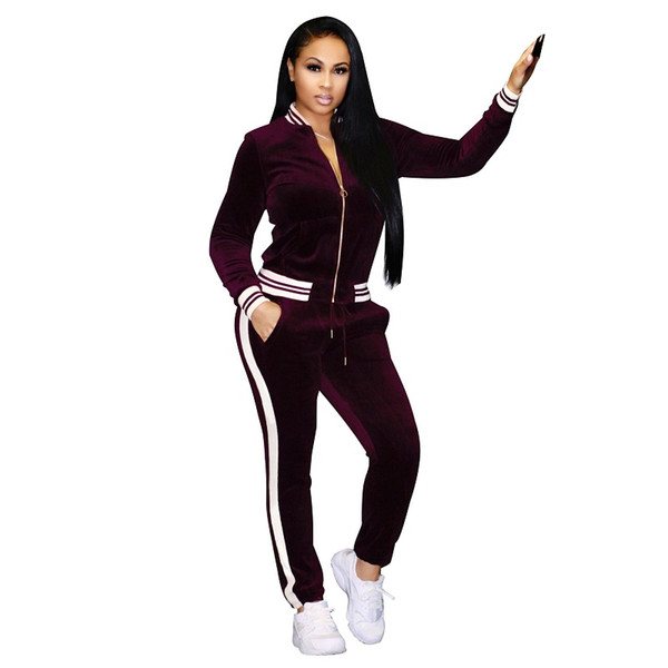 358b40be871c5 2019 Womens High Waist Tracksuit Set Casual Sweat Zipper Suit Jacket Tops  Striped Long Pants Outfit Casual Women Track Suit From Liangcloth, $42.95 |  ...