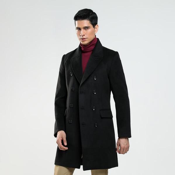 Comprimento médio casaco de lã dos homens trench coats de mangas compridas sobretudo casaco de cashmere dos homens casaco masculino inverno erkek inglaterra preto