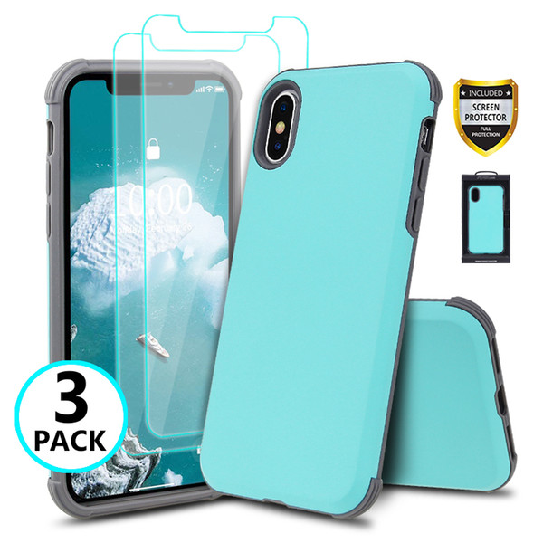 Hybird 2in1 Slim ShockProof Case For iPhone x xr 6s 7 8 plus samsung Armor cover + 2 Glass Screen Protectors (Clear) Retail Package